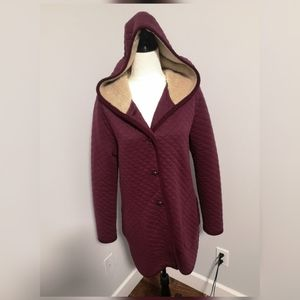 Bossini burgundy coat with faux fur